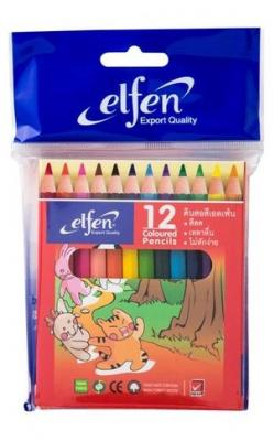 ดินสอสีไม้ สั้น (แพ็ค12สี) เอลเฟ่น B4368